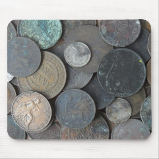 Old coins photo mainly ancient pennies mouse pad