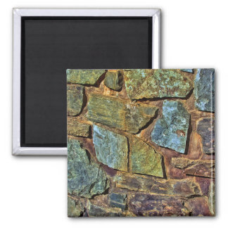 Old colorful stone wall texture 2 inch square magnet