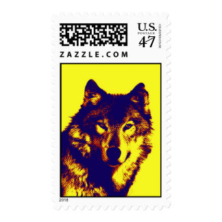 Old Comic Style Dotted Yellow Pop Art Wolf Postage