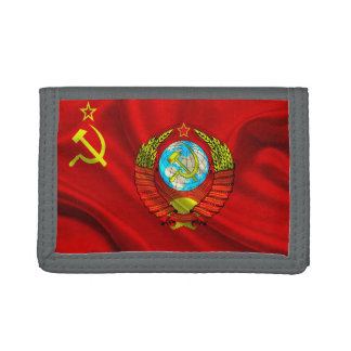 Old Communist USSR Flag Fabric Trifold Wallets