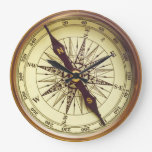 Old Compass Large Clock at Zazzle