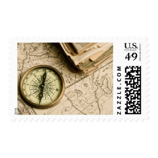 Old Compass Over Ancient Map Postage Stamp