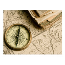 Old Compass Over Ancient Map Postcard