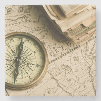 Old Compass Over Ancient Map Stone Coaster