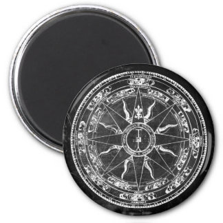 Old Compass Rose (B&W) 2 Inch Round Magnet