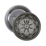 Old Compass Rose (B&W) Buttons