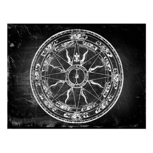 Old Compass Rose (B&W) Postcard
