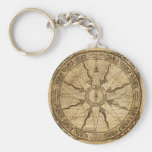 Old Compass Rose Basic Round Button Keychain