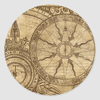 Old Compass Rose Classic Round Sticker