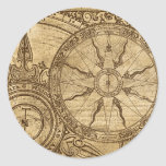 Old Compass Rose Round Stickers