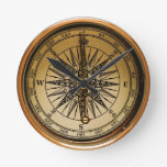 Old Compass Round Clock at Zazzle