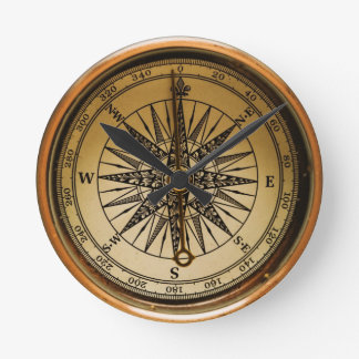 Old Compass Round Wall Clock