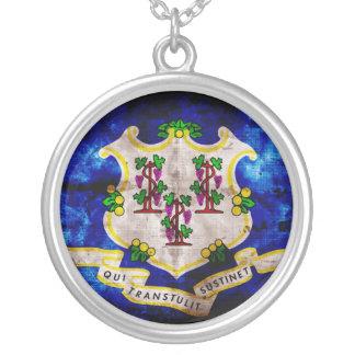 Old Connecticut Flag Round Pendant Necklace