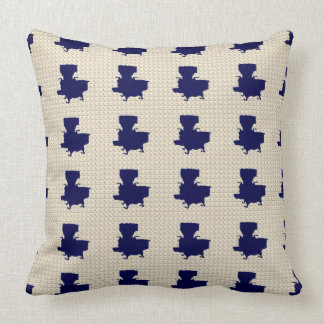 Old-Cook-Stove-Navy-Cream-Pillow-Accents Throw Pillow