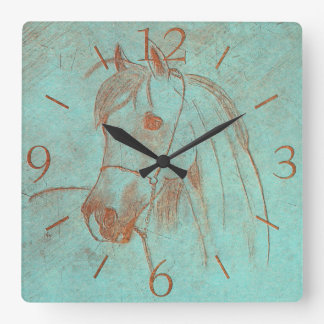 Old Copper Engraved Horse Square Wall Clock