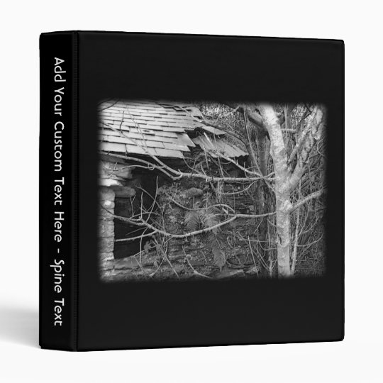 Old cottage and Tree. Black and white. Binder