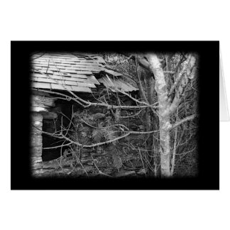 Old cottage and Tree. Black and white. Card