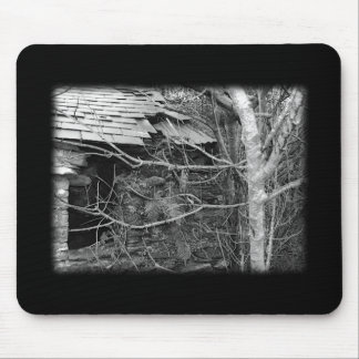 Old cottage and Tree. Black and white. Mouse Pad