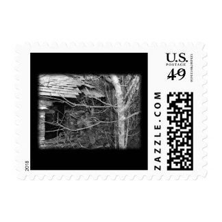 Old cottage and Tree. Black and white. Stamp