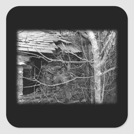 Old cottage and Tree. Black and white. Square Sticker
