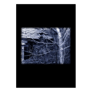 Old cottage. Blue and white on Black. Large Business Card