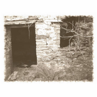 Old cottage in the woods. Sepia and white. Photo Sculptures