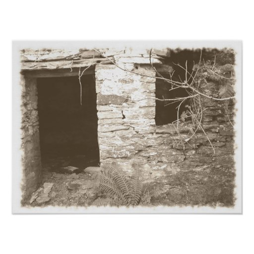 Old cottage in the woods. Sepia and white. Poster