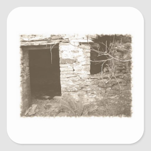 Old cottage in the woods. Sepia and white. Square Sticker