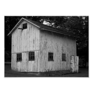 Old Country Barn Black And White Photography Poster