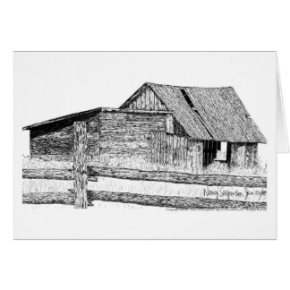 Old Country Barnboard Woodshed Pen and Ink Greeting Card