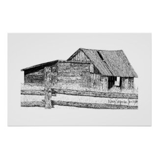 Old Country Barnboard Woodshed Pen and Ink Drawing Poster