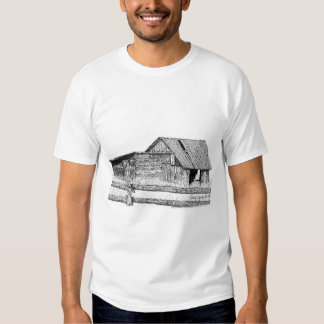 Old Country Barnboard Woodshed Pen and Ink Drawing Tee Shirt