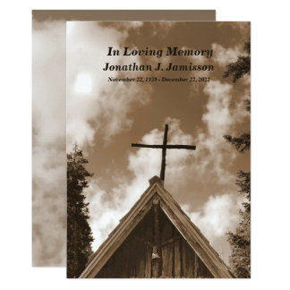 Old Country Church, Sepia Memorial Service Invite