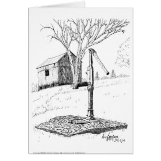 Old Country Waterpump Pen and Ink Card