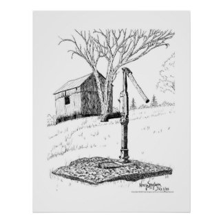Old Country Waterpump Pen and Ink Drawing Poster