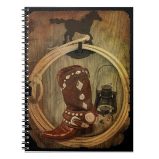 old country western boot and lantern poster notebooks