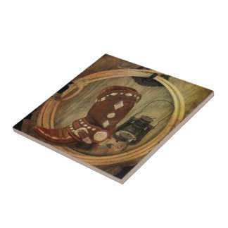 old country western cowboy boot and rope small square tile