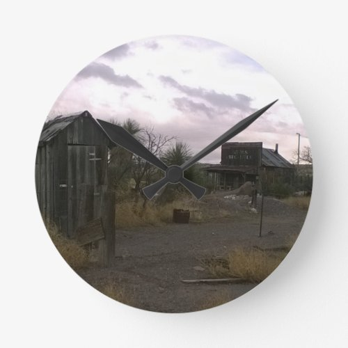 Western Ghost Town Round Clock