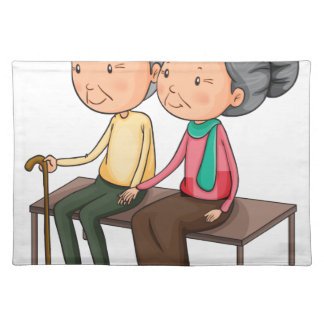 Old couple cloth placemat