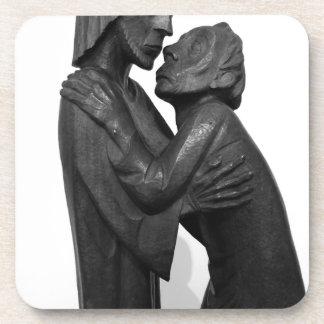 Old Couple Sculpture Beverage Coaster