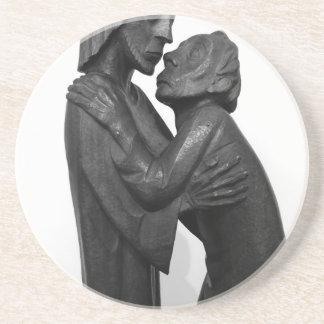 Old Couple Sculpture Sandstone Coaster