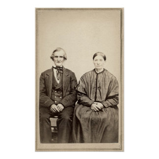 Old Couple Vintage Albumen CDV Photo From 1860's Poster