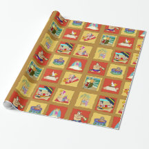 Old Couples Beach Squares Wrapping Paper