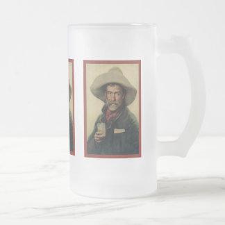 Old Cowboy Frosted Glass Beer Mug