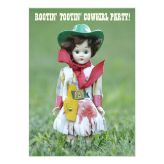 Old Cowgirl Doll YEE HAW Rootin' Tootin' Birthday Personalized Invitations