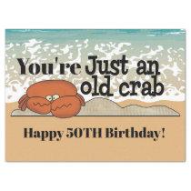 Old crab cute beach Birthday tissue Tissue Paper