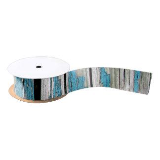 Old Cracked Blue Paint on Wood Satin Ribbon