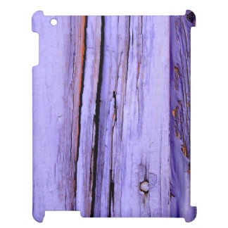 Old cracked purple paint on wood case for the iPad 2 3 4