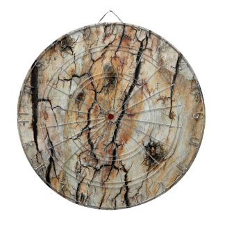 Old cracked wood natural tree bark picture dartboard with darts