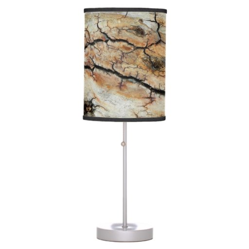 Old cracked wood natural tree bark picture desk lamp zazzle for Wood tree floor lamp